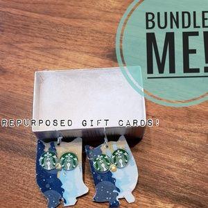 *Unique* Owl Starbucks Gift Card Earrings